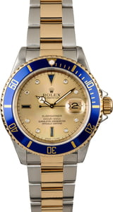 Rolex Submariner 16613 Champagne Serti Dial with Blue Bezel