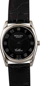 Pre-Owned Rolex Cellini 4233 White Gold Black Dial T