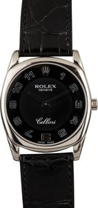Pre-Owned Rolex Cellini 4233 White Gold Black Dial