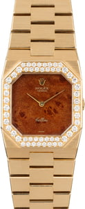 Rolex Cellini 4651 Exotic Wood Dial with Diamond Bezel