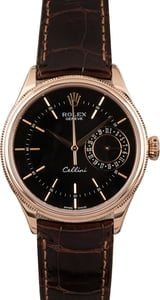 PreOwned Rolex Cellini 50515 Black Guilloche Dial