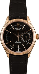 Pre-Owned Rolex Cellini 50515 Black Guilloche Dial