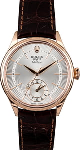 Everose Rolex Cellini 50525 Silver Guilloche Dial