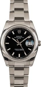 Pre-Owned Rolex Date 115200 Black Index Dial