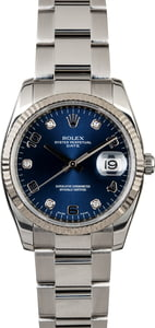 Rolex Date 115234 Blue Diamond Dial