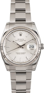 Rolex Date 115234 Silver Luminous Index Dial