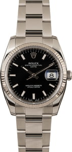Pre-Owned Rolex Date 115234 Black Dial