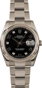 Pre-Owned Rolex Date 115234 Black Diamond Dial