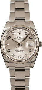 Used Rolex Date 115234 Silver Arabic Diamond Dial