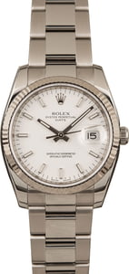 Pre-Owned Rolex Date 115234 White Index Dial