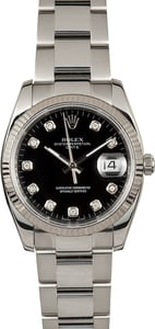 Rolex Date 115234 Black Diamond Dial