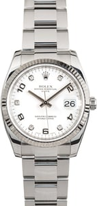 Rolex Date 115234 White Diamonds