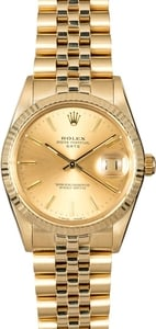 Genuine Rolex Date 15037 Yellow Gold Jubilee Bracelet