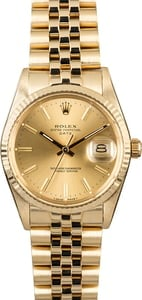 Rolex Date 15037 Yellow Gold Jubilee Band