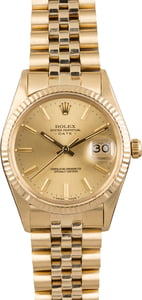 Used Rolex Date 15037 Yellow Gold Jubilee Bracelet