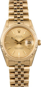 Rolex Date 15037 Champagne Dial Gold Watch