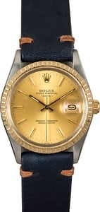 Rolex Date 15053 Champagne w/ Leather