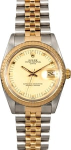 Two Tone Rolex Date 15053 Champagne Dial