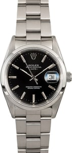 Rolex Date 15200 Black Dial Steel Oyster