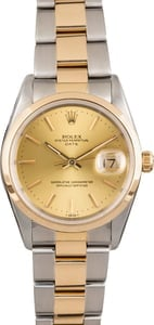 Pre Owned Rolex Two Tone Date 15203 Champagne Dial