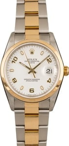 Pre Owned Rolex Date 15203 White Arabic Dial