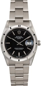 Rolex Date 15210 Black Dial Steel Oyster