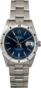 Rolex Date 15210 Blue Dial with Steel Oyster