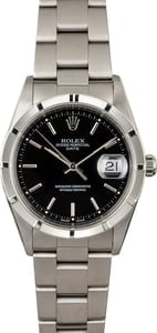 PreOwned Rolex Date 15210 Black Dial Steel Oyster