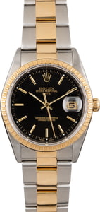 Used Rolex Date 15223 Black Dial Two Tone