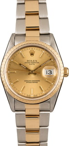 Used Rolex Oyster Perpetual Date 15223 Two Tone