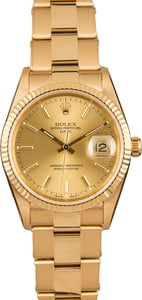 Rolex Date 15238 Champagne Index Dial