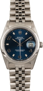 Used Rolex Date Stainless Steel 15200 Blue Arabic Dial T