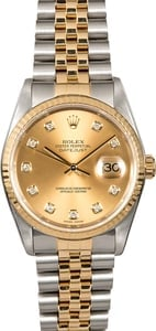 Rolex DateJust 16233 Diamond Dial Two Tone Jubilee