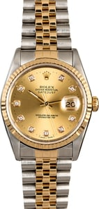 Men's Rolex DateJust 16233 Champagne Diamond Dial