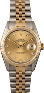 Rolex DateJust Diamond Dial 16233 Pre-Owned