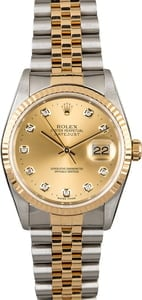 Rolex 16233 DateJust Champagne Diamond
