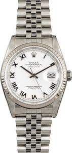 Used Rolex DateJust 16234 White Roman
