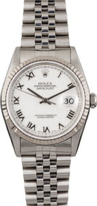 Pre Owned Rolex Datejust 16234 White Roman Dial Jubilee Band