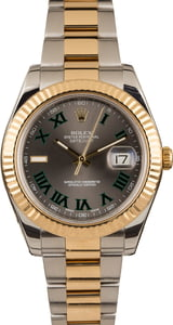Pre Owned Rolex DateJust II Ref 116333 Green Roman Markers