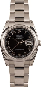 Used Rolex Steel Datejust 116200 Black Roman Dial