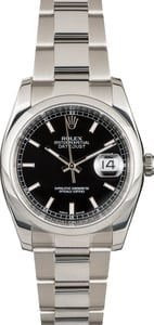 Rolex Datejust 116200 Black Dial Steel Oyster