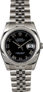 Rolex Datejust 116200 Black Roman Steel Jubilee