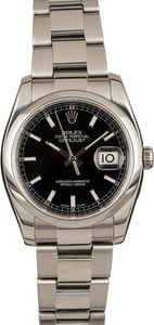 Used Rolex Datejust 116200 Black Luminous Dial