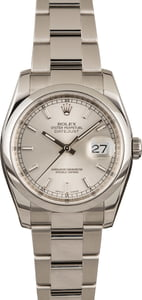 Used Rolex Steel Datejust 116200 Silver Index Dial