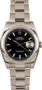 Pre-Owned Rolex Datejust 116200 Black Luminous Dial