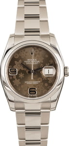 Pre-Owned Rolex Datejust 116200 Brown Floral Dial