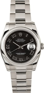 Pre Owned Rolex Datejust 116200 Black Sunbeam