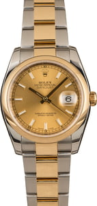 Pre-Owned Rolex Two Tone Datejust 116203 Champagne Dial