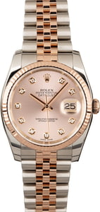 Rolex Diamond Datejust 116231 Two Tone Everose Jubilee