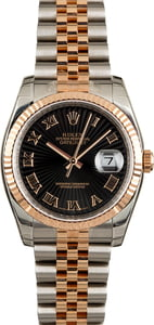 Rolex Datejust 116231 Black Sunburst Dial Rose Gold